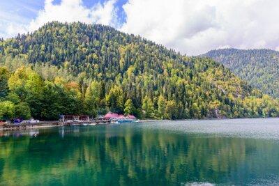 Wall mural Picturesque Alpine lake Ritsa, Abkhazia.