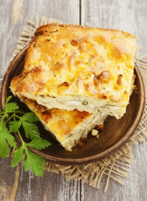 Wall mural Pie with cabbage and eggs