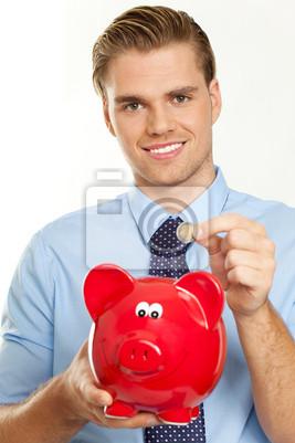piggy bank coin businessman
