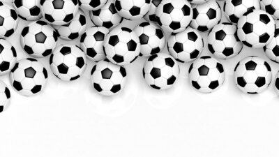 Wall mural Pile of classic soccer balls isolated on white with copy-space