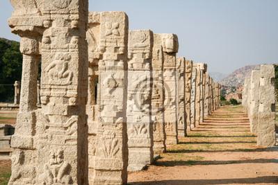 Pillars of ruined temple in hampi