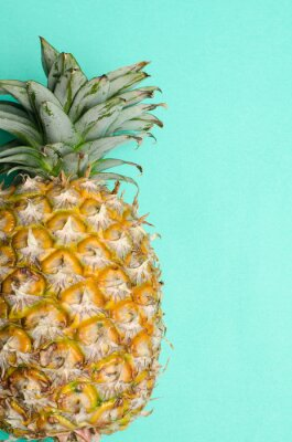 Wall mural Pineapple fruit on green background