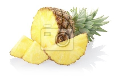 Wall mural Pineapple sliced on white, clipping path included