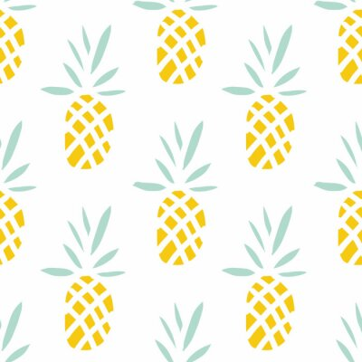 Wall mural Pineapples on the white background. Vector seamless pattern with tropical fruit.