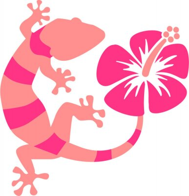 Wall mural Pink Gecko with hibiscus