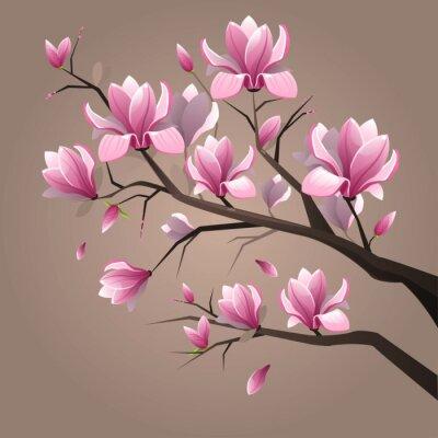 Wall mural Pink magnolia flowers