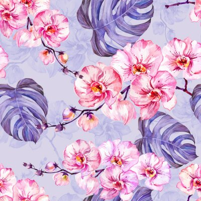 Wall mural Pink orchid flowers with outlines and large monstera leaves on light lilac background. Seamless pattern. Watercolor painting.