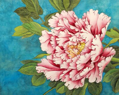 Wall mural pink peony on a blue background