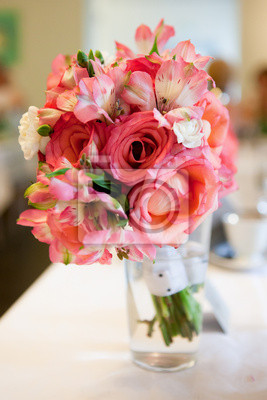 Pink red nosegay in a vase