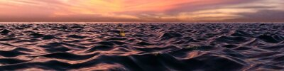 Wall mural Pink Sunset Panorama Over Ocean Waves