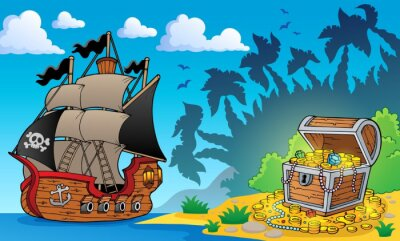 Wall mural Pirate theme with treasure chest 1