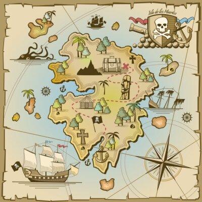 Wall mural Pirate treasure island vector map