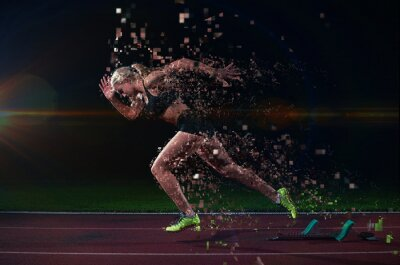 Wall mural pixelated design of woman  sprinter leaving starting blocks