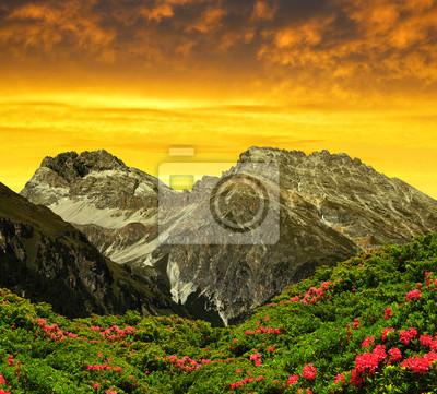 Piz Ela in Switzerland Alps at sunset - canton Graubunden.