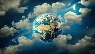 Planet Earth surrounded by clouds, the moon and stars in the night sky. Fantasy  collage on travel, geography, space, science and education topics. Elements of this image furnished by NASA.