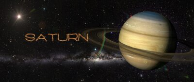Wall mural Planet Saturn in outer space.