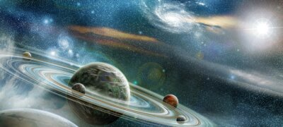 Wall mural Planet with numerous prominent ring system