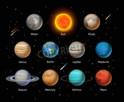 Wall mural Planets colorful vector set on dark background, Planet vector set. Planet icons 3d infographic elements. Planets collection silhouette. Planets illustration vector 3d icons