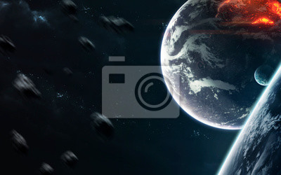 Planets in deep space, cosmic landscape. Awesome science fiction render. Elements of this image furnished by NASA