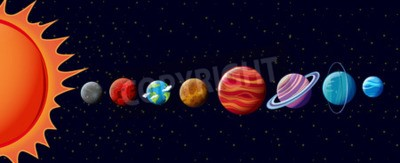 Wall mural Planets in solar system illustration