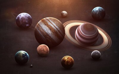 Wall mural Planets of the solar system on chalkboard