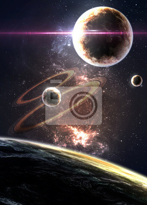 Wall mural Planets over the nebulae in space