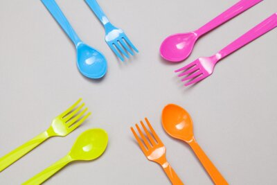 Wall mural plastic spoon and fork , sharing