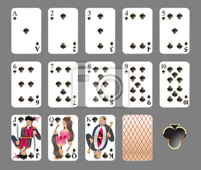 Playing cards - club suit. EPS 10 - contains transparences