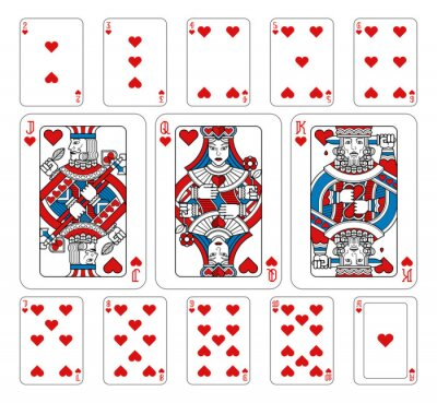 Playing cards hearts set in red, blue and black from a new modern original complete full deck design. Standard poker size.