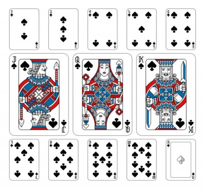 Playing cards spades set in red, blue and black from a new modern original complete full deck design. Standard poker size.