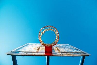Wall mural Plexiglass street basketball board with hoop on outdoor court