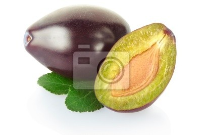 Wall mural Plum with leaves on white, clipping path included