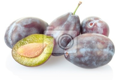 Wall mural Plums isolated on white, clipping path included