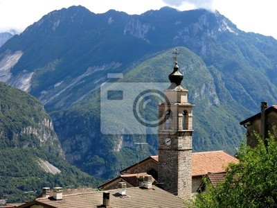 Wall mural Podenzoi Village Alps Italy