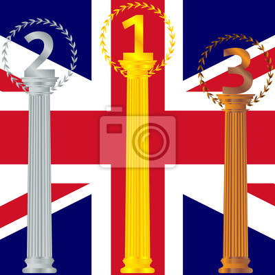 Podium for the winners of the British flag