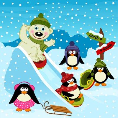 Wall mural polar bear and penguin on an ice slide - vector illustration, eps