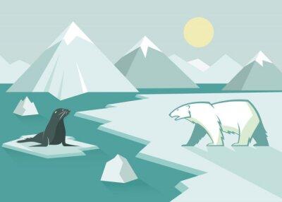 Wall mural Polar bear and seal - flat design