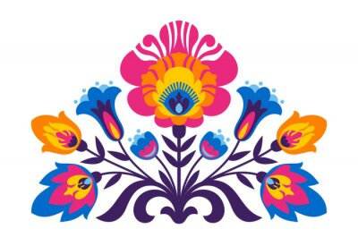 Wall mural Polish folk inspired flowers