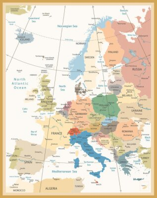 Wall mural Political Map of Europe Retro Colors