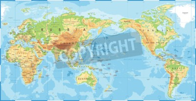 Wall mural Political physical topographic colored world map pacific centered vector icon.