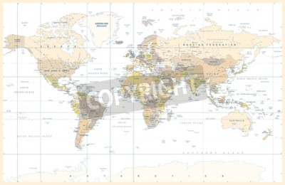 Wall mural Political Physical Topographic Colored World Map Vector illustration