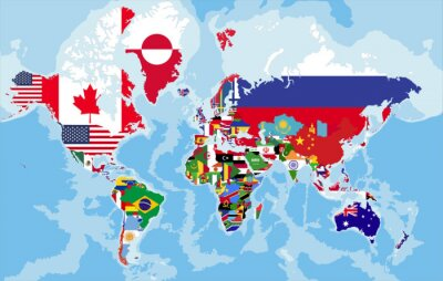 Wall mural Political world map with country flags.