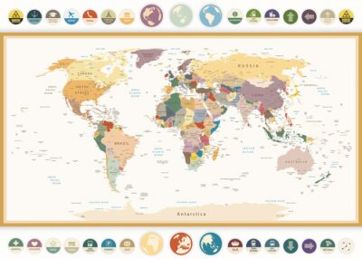 Wall mural Political World Map with flat icons and globes.Vintage colors.