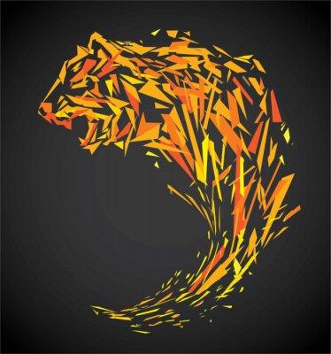 Wall mural polygon tiger