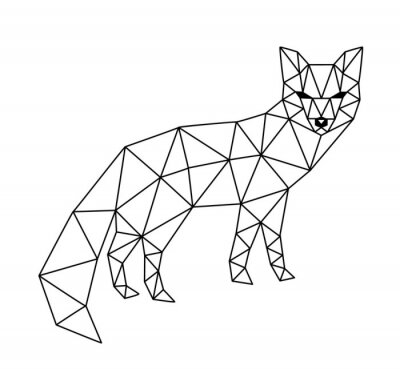 Wall mural polygonal fox