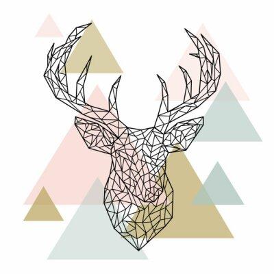 Wall mural Polygonal head deer portrait. Scandinavian style. Vector illustration.