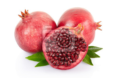 Wall mural Pomegranate and section with leaves on white with clipping path