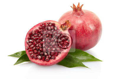 Wall mural Pomegranate fruit and leaves on white with clipping path