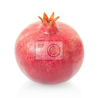Wall mural Pomegranate isolated on white, clipping path included