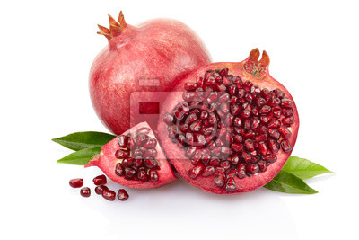 Wall mural Pomegranate with leaves on white, clipping path included